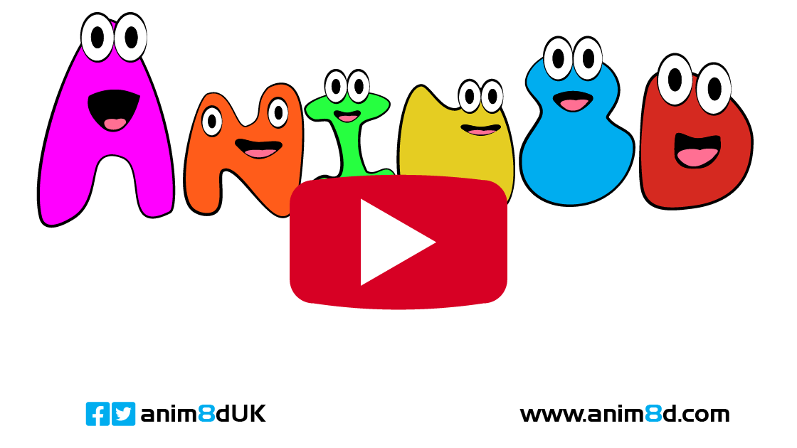 anim8d logo with youtube style play button